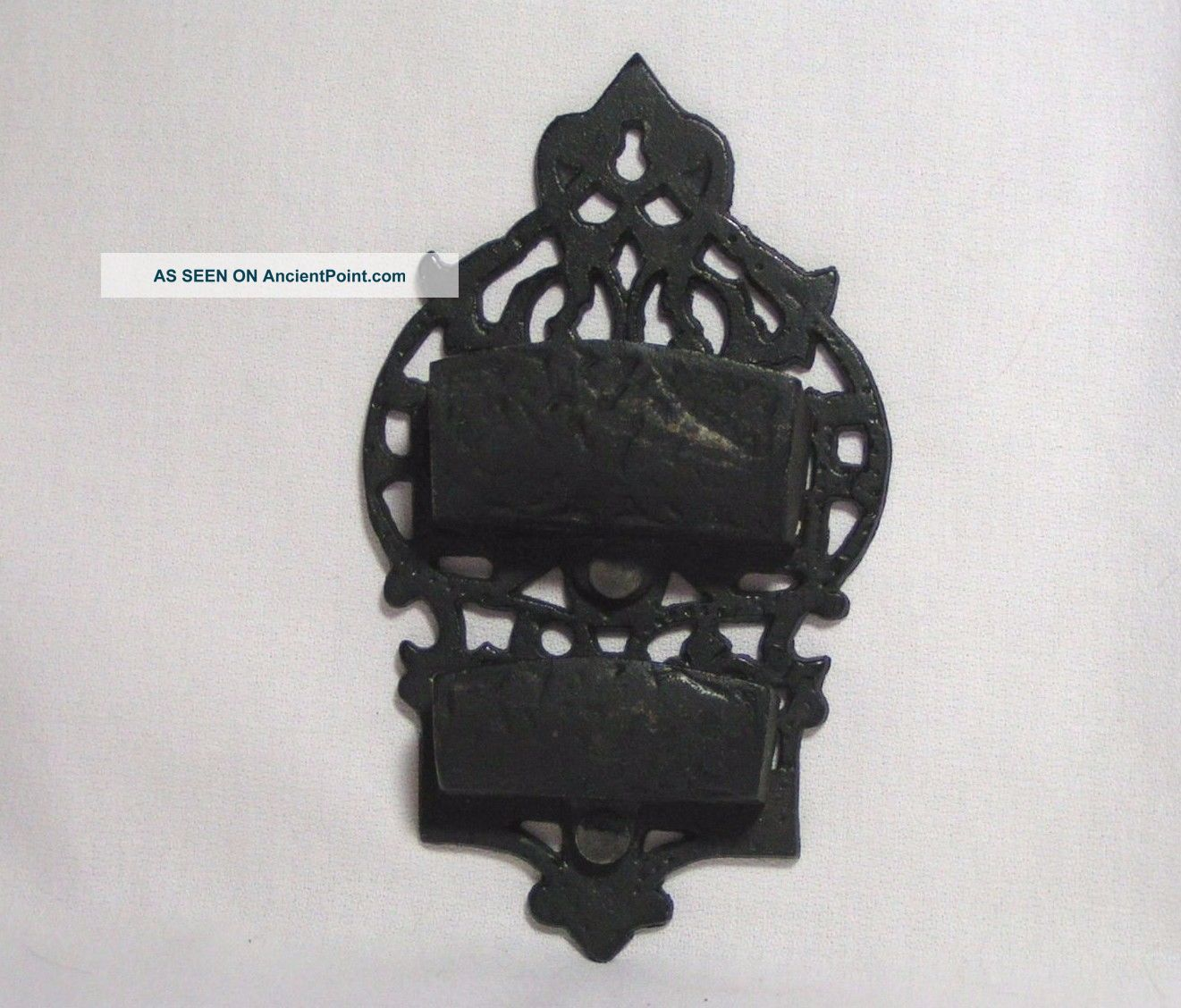 Vintage Cast Iron Double Match Stick Wall Holder Art Strike Surface Hearth Ware photo