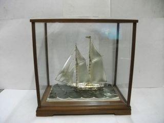 Huge Sailboat Of Silver960 Of Japan.  270g/ 9.  51oz.  2masts.  Takehiko ' S Work photo