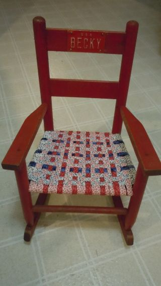 Vintage Child ' S Wood Rocking Chair - Red With Woven Seat - Becky Usa - Name Plate photo