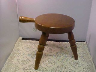 Vintage Milking Stool Wooden Has Three Legs And Handle On Side Minor Scratches photo