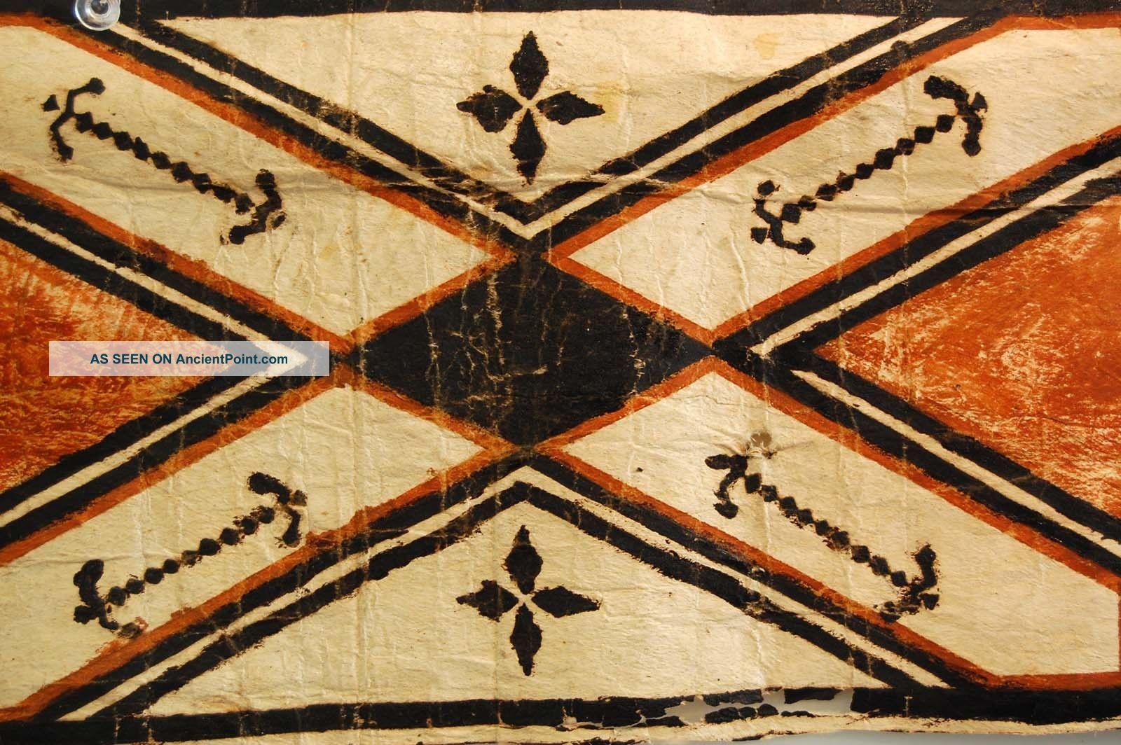 Oceanic Art Tapa Cloth Hawaiian Kapa Cloth Polynesian Bark Strip Painted Pacific Islands & Oceania photo