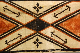 Oceanic Art Tapa Cloth Hawaiian Kapa Cloth Polynesian Bark Strip Painted photo