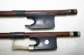 2 Good Old Antique French? German? 4/4 Violin Bows Durro Mop Repair No Res photo