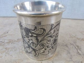 Judaica Russian Antique Niello Silver 84 Kiddush Vodka Cup 30gr.  Moscow 1856 photo
