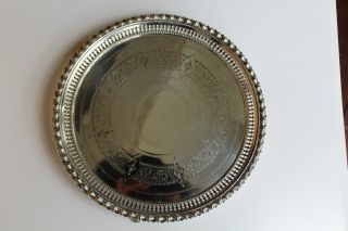 Victorian Early Walker & Hall Silver Salver C.  1860 photo