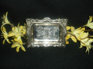 Silver Silverplate Mini Ornate Engraved Serving Tray Ornate Vanity photo