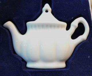 1999 Vintage Porcelain White Teapot Ornament From Royal Dolton photo