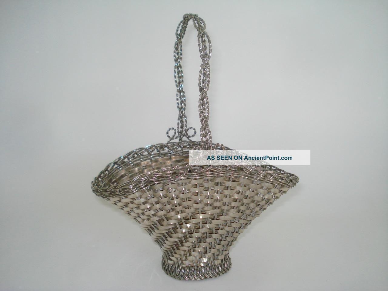 Antique 800,  Silver Wire Woven Basket Hand Made 256 Grams Silver Alloys (.800-.899) photo