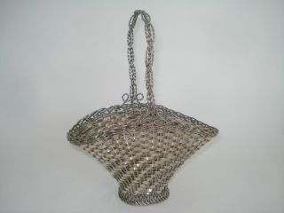 Antique 800,  Silver Wire Woven Basket Hand Made 256 Grams photo