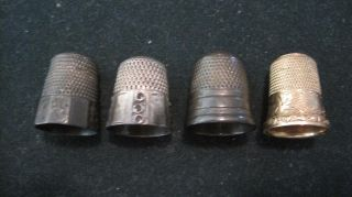 4 Antique Thimbles 3 Sterling Silver Simons Goldsmith Stern & Unk Simons Gf photo