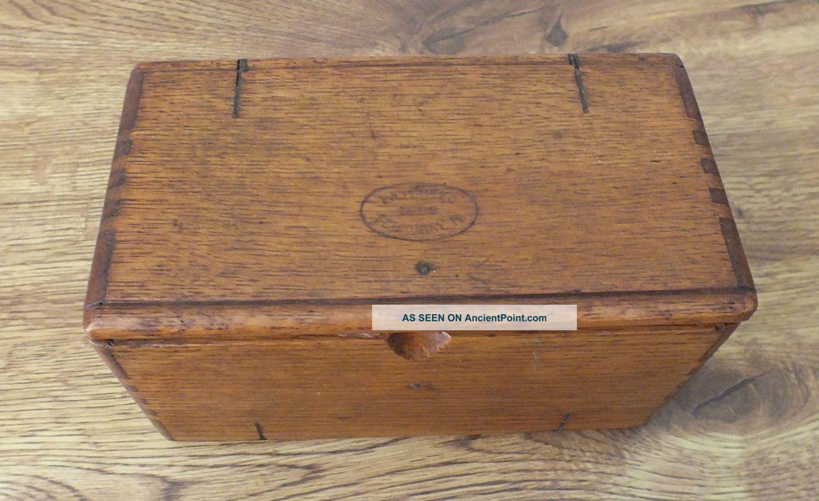 Antique 1889 Singer Sewing Machine Attachment Box - Dovetailed,  Oak,  Wood Baskets & Boxes photo
