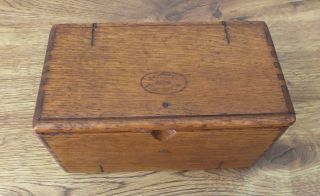 Antique 1889 Singer Sewing Machine Attachment Box - Dovetailed,  Oak,  Wood photo