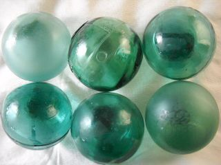 6 Teal Blue/green Japanese,  Korean Vintage Glass Floats Alaska Beachcomberbum photo