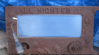 Rare Antique All Nighter Wood Burning Stove Oven Door& Glass Cast Iron - Embossed photo