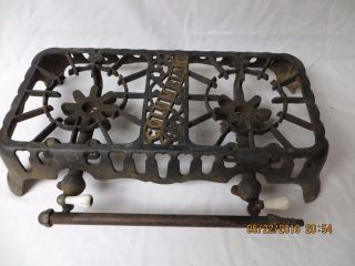 Cast Iron Rustic Ornate Columbian 2 Burner Gas Stove Hot Plate W/ Porcelain Knob photo