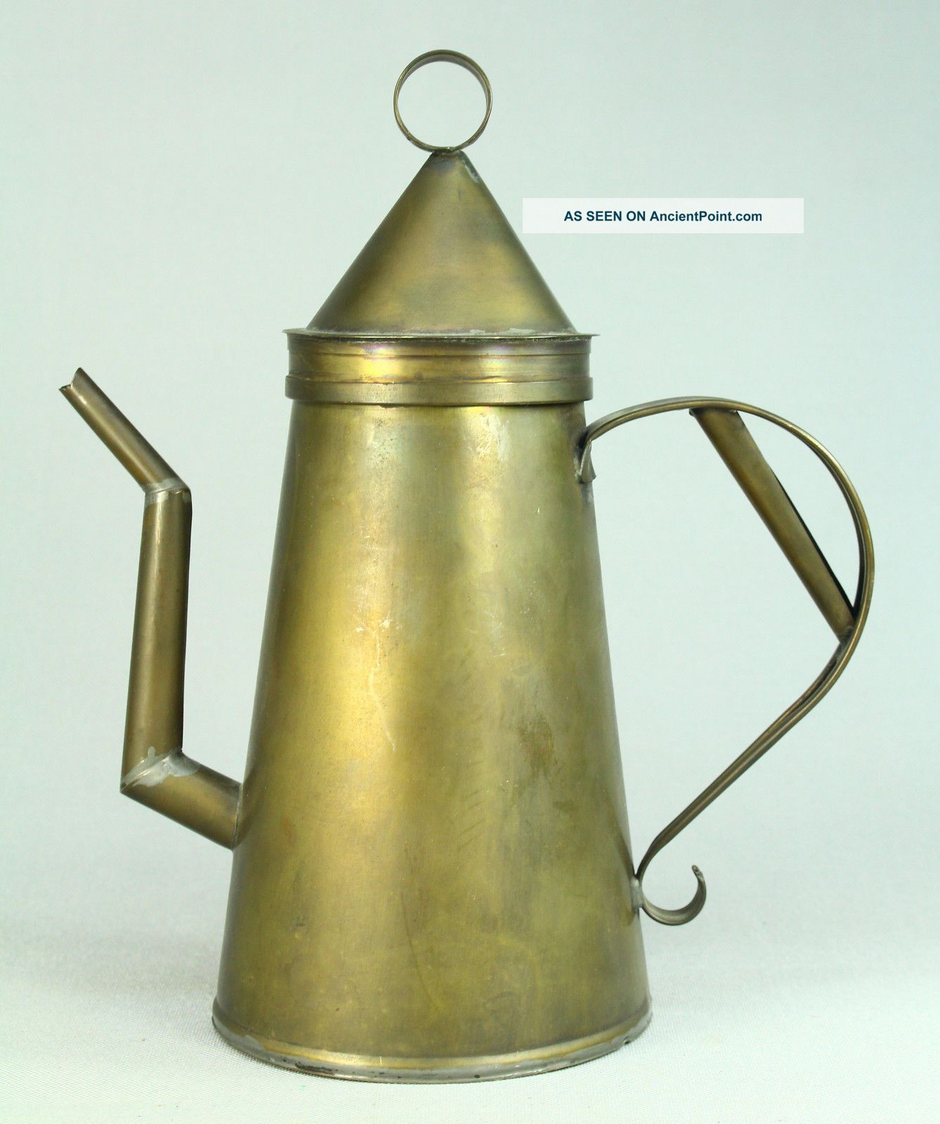 Antique 1800 ' S Brass American Folk Art Tea Kettle Teapot Tea Pot Hearth Ware photo