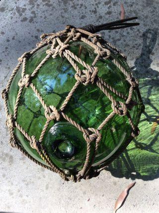 Large Japanese Glass Fishing Float Buoy - Netting photo