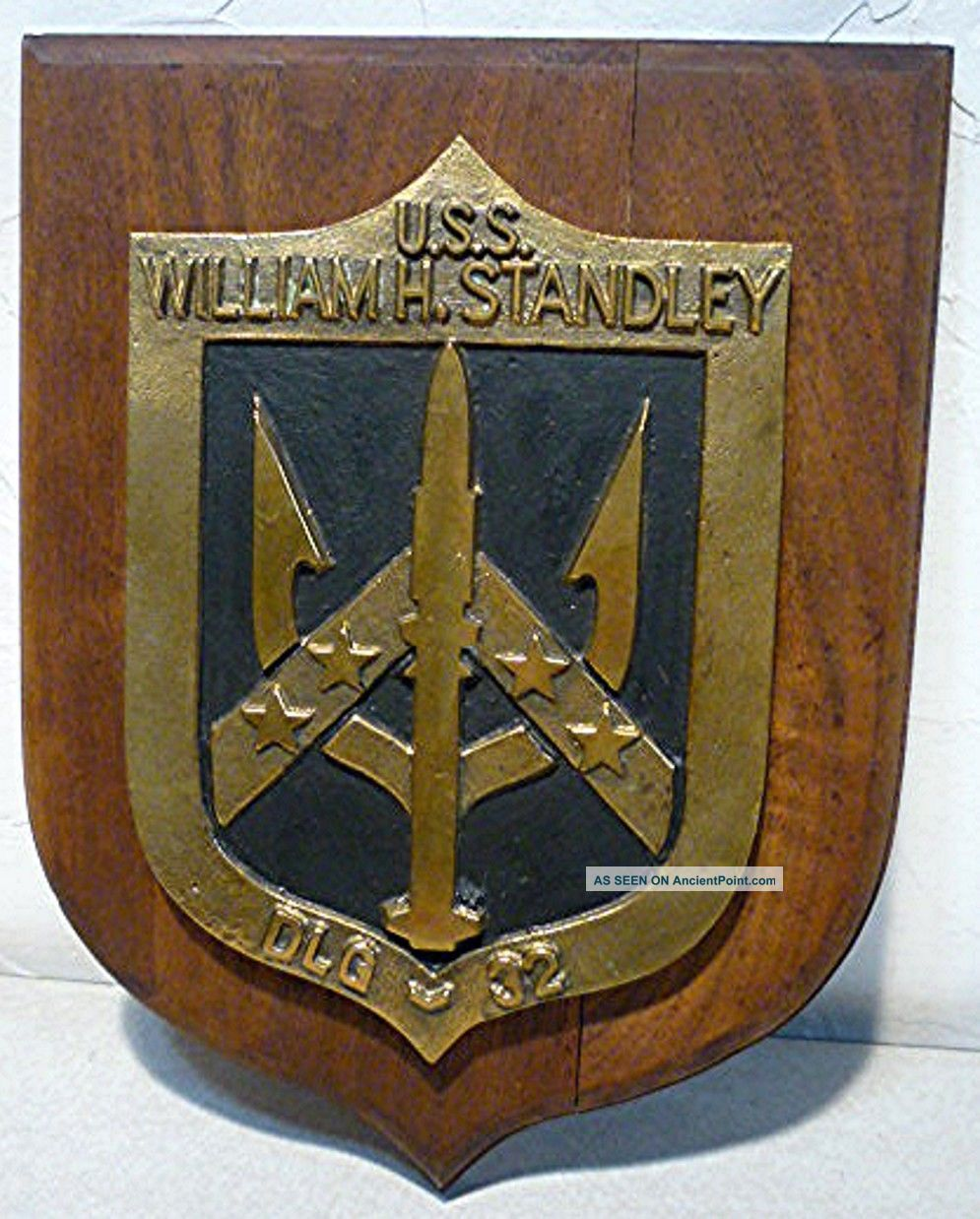 Vintage Us Navy Hand Painted Ship Plaque Uss William Standley Dlg - 32.  1966 - 1994 Plaques & Signs photo