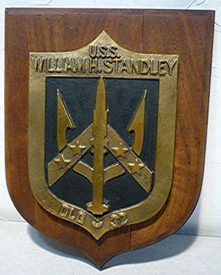 Vintage Us Navy Hand Painted Ship Plaque Uss William Standley Dlg - 32.  1966 - 1994 photo