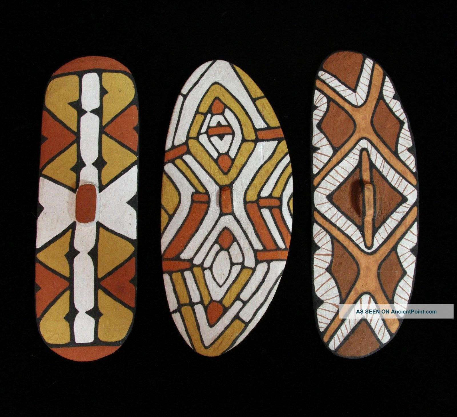 Stunning Group Of Three Miniature Queensland Aboriginal Rainforest Shields Pacific Islands & Oceania photo