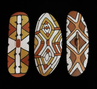 Stunning Group Of Three Miniature Queensland Aboriginal Rainforest Shields photo