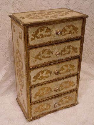 Large 5 Drawer Vintage Italian Florentine Gold Chest Jewelry Drawer Box 13x8x5.  5 photo