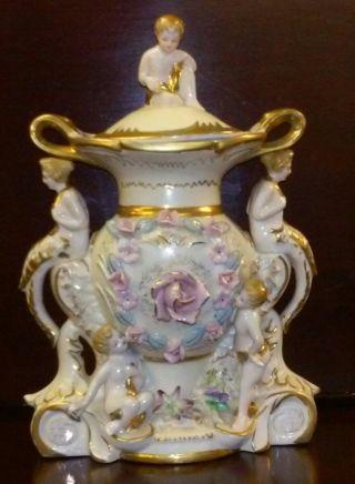 Antique Capodimonte Nautical Porcelain Cherub Urn Centerpiece Vase photo