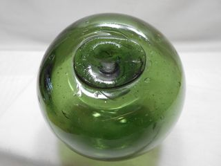 Vintage Glass Fishing Float Emerald Green Flat Top 4