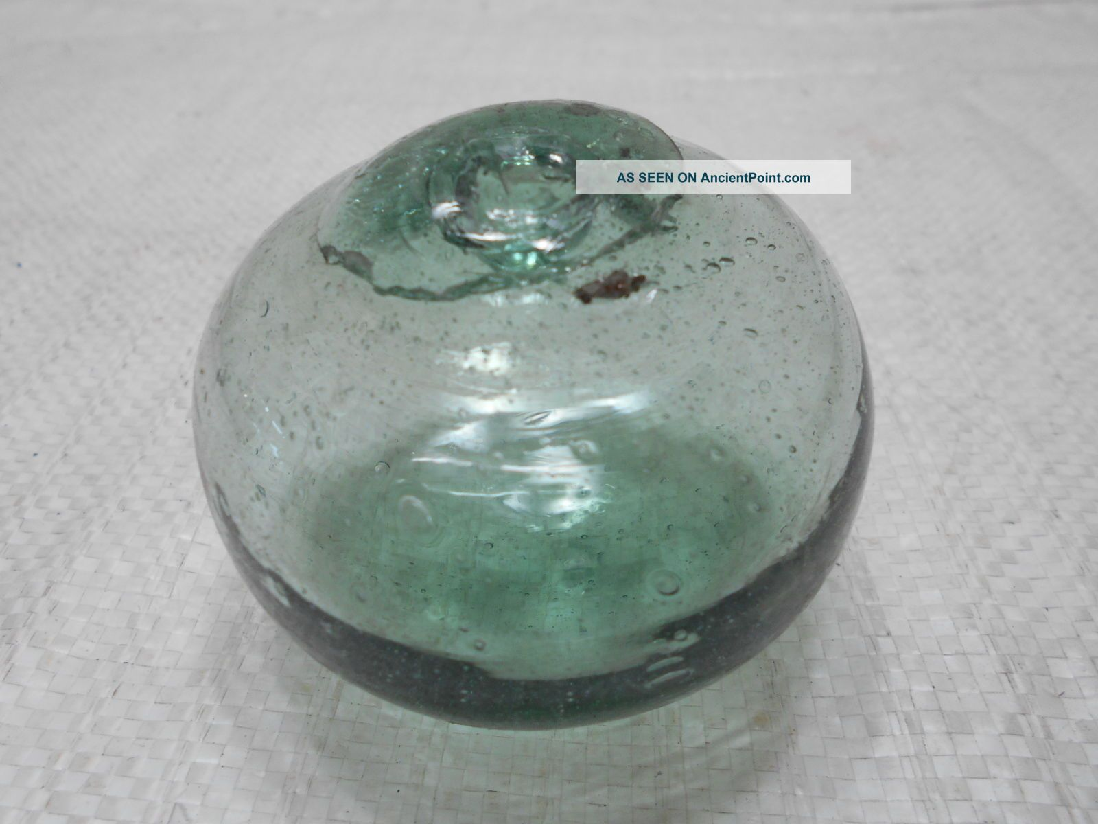 Vintage Glass Fishing Float Blue/green Squished 2.  75
