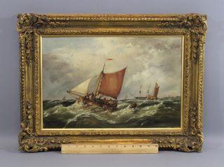 Antique 1896,  G.  Wolfe,  Maritime Ship Harbor Seascape Oil Painting,  Nr photo