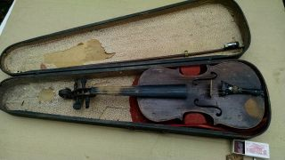 Vintage Stradivarius Copy Violin W/wooden Coffin Case photo