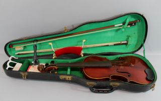 Quality Antique German 4/4 Guarnerius Violin & 2 Quality Pernambuco Bows,  Nr photo