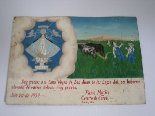 Dated Tin Mexican Religious Ex Voto Retablo Mexico Catholic Christian Folk Nr photo