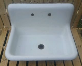 Antique Vintage High Back Cast Iron & Porcelain Sink Farm House Kitchen Drop In photo