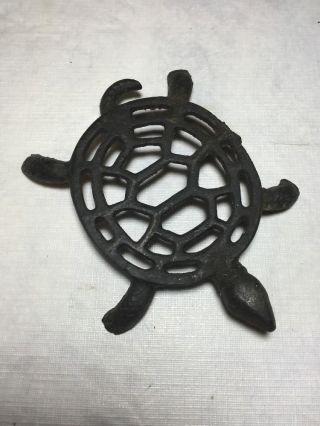 Vintage Cast Iron Turtle Trivet photo