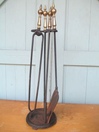 Mid Century Modern Brass / Iron Fire Place Tools W/ Stand Spire - Spike Handles photo