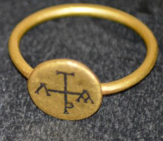 Byzantine Gold Ring With Niello Monogram photo