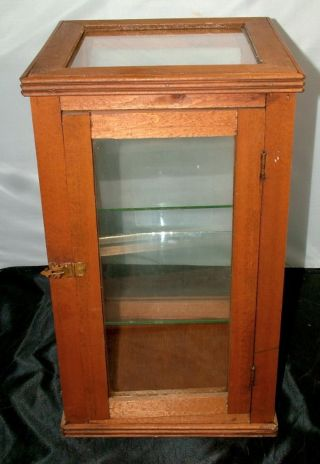 Antique Wood Glass Country Store Counter Top Display Case Box With Shelves photo