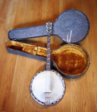 Vintage 1927 Paramount Wm.  L.  Lange Style A Resonator Banjo W/ Case Estate Find photo