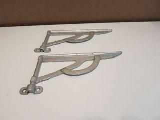 Vintage Cast Iron Pair Wall Shelf Brackets Hardware Salvaged Heavy Metal photo