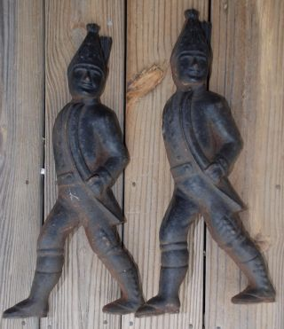 Fireplace Antique American Revolution Hessian Soldiers Andirons Cast Iron 19