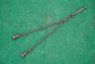 Antique Ottoman Islamic Mughal Iron Flail Mace Horseman Warrior Gurz Shishpar photo