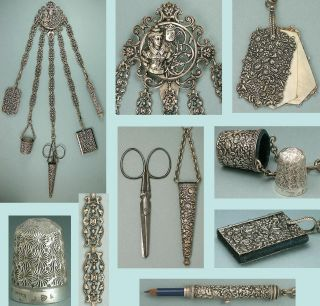 Antique Silver Filigree Sewing Chatelaine W/ 5 Attachments Circa 1890s photo