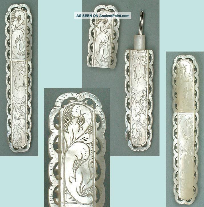 Lovely Antique Mother Of Pearl Palais Royal Needle Case Circa 1820 Needles & Cases photo