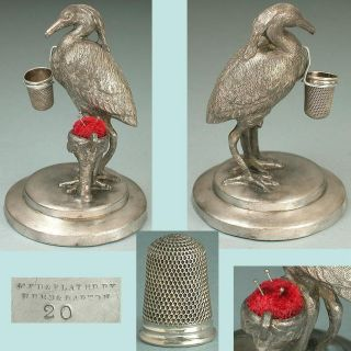 Antique Silver Plated Shore Bird Thimble Holder / Pincushion American C1890 photo
