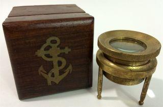 Nautical Marine Gold Tone Chart Map Document Read Magnifier Glass Stand Tripiod photo