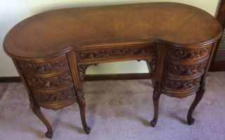 Antique Kidney Shape Desk photo