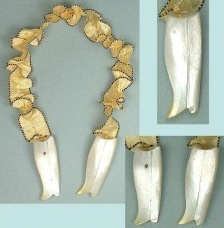 Antique Figural Mother Of Pearl Boots Knitting Needle Guards Circa 1860 photo