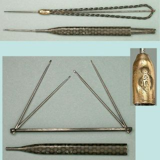 2 Antique Crochet Hooks One W/ 4 Hooks English Circa 1860 - 70 photo