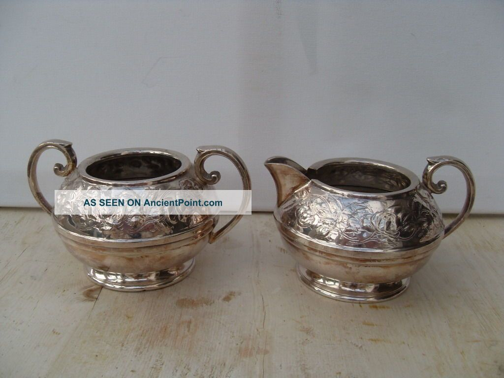Antique Silver Plate Sugar Bowl And Milk Jug Creamer Civic Sugar Bowls/Tongs photo